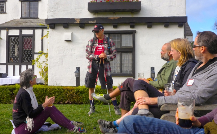 Jacquie holding court on the Pelican Inn Lawn.